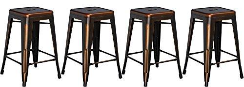 BTExpert Bar Stool, Industrial Metal, Vintage Stackable, Antique Premium Copper, Set of 4 stools