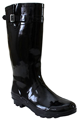 A&H Footwear Ladies Womens New Wide Calf Adjustable Snow Rain Mud Festival Waterproof Wellington Boots Wellies UK 3-8 (Maximum Calf Width 42 cm) (UK 6, Black/Shiny)