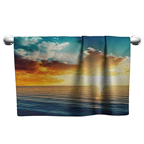 alisoso Sunset,Decorative Bathroom Towels Long Exposure Magical Horizon Panorama Over Ocean Dramatic Sky Dusk Serene Image Bathroom Hand Towels Yellow Blue W 14