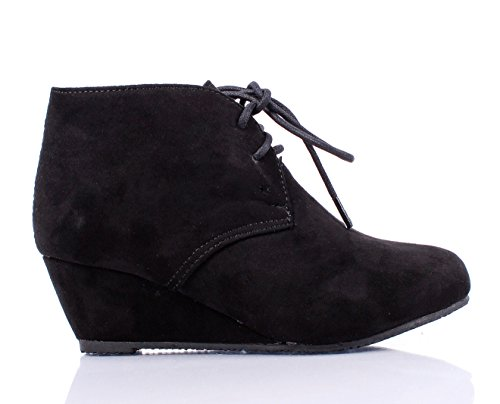 Faux Suede Lace up Girls Wedges High Heels Kids Ankle Boots (1, Black) - Faux Suede Wedge Boot