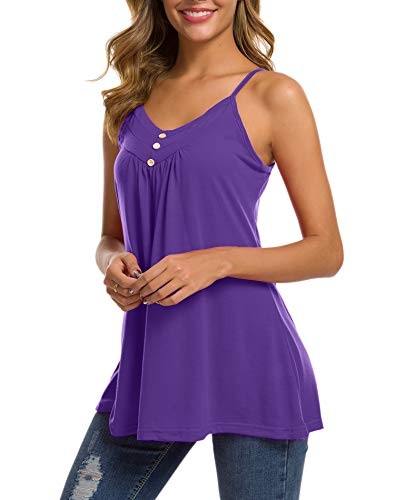 (Women's Flowy Tank Tops Camis V Neck Sleeveless Button Tunic Camisole Shirts Blouse(Purple,XXL))