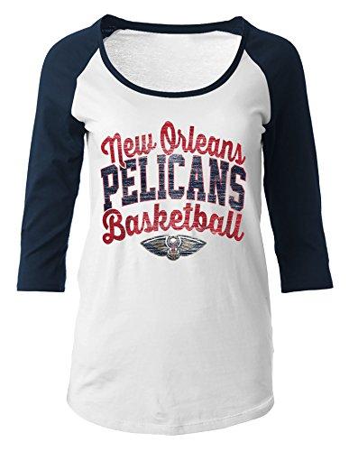 NBA New Orleans Pelicans Women's 100% Cotton Baby Jersey 3/4 Sleeve Scoop Neck Tee, Medium, Navy