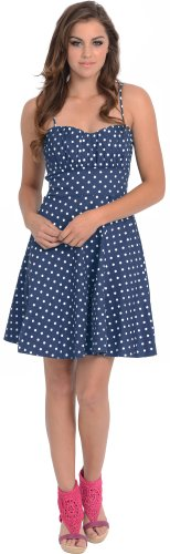 - 50's Retro Rockabilly Polkadot Dress Sundress, 2X, Navy