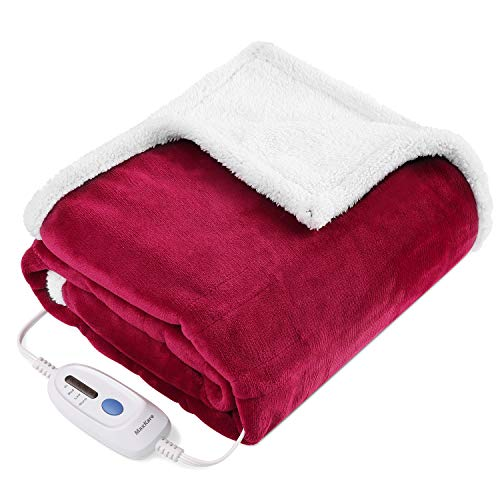 "Electric Blanket Heated Throw Fast Heating Blanket Flannel & Sherpa Reversible 50"" x 60"" with 3 Hours Auto Off & 4 Temperature Settings, ETL Certification, Bed Sofa Use & Machine Washable"