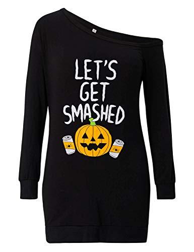 Loveternal Femme Off Shoulder Robe Imprim Halloween Manches Longues Top M-XXL Crazy Pumpkin