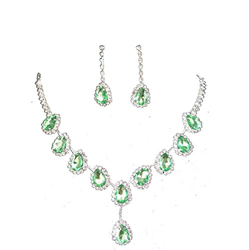 UDORA Evening Party Jewelry Blue Necklace Earrings Jewelry Set (Green) -