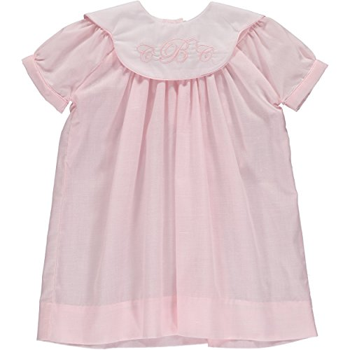 a6f6a5c6c Carriage Boutique Baby Girl Classic Monogram Blank Bishop Dress - Pink/White  Collar
