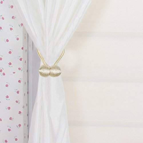 Chictie Classic European Tiebacks for Curtain Drapery Creative Ball Decor Ropes Holdbacks with Strong Magnetic Great Cafe Bistro Room Window Decoration Pack of 1 Pair in Box (Cream (Bistro Cream)