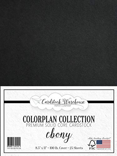 Ebony Black Cardstock Paper - 8.5 x 11 inch Premium 100 lb. Cover - 25 Sheets from Cardstock Warehouse