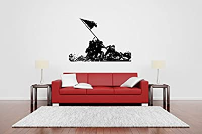 Removable Vinyl Sticker Mural Decal Wall Decor Poster Art Patriotic USA Country Flag Poster Stars Stripes soldier military war hero veteran sniper shooter OPS Squad Sign Logo Emblem Stamp SA411