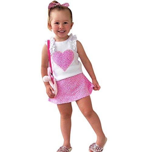 Heart White Camo T-shirt - Iuhan Toddler Baby Girls Clothes, 2Pcs Ruffles Heart Tops T-Shirt +Skirt Outfit Sets (12Months, White)
