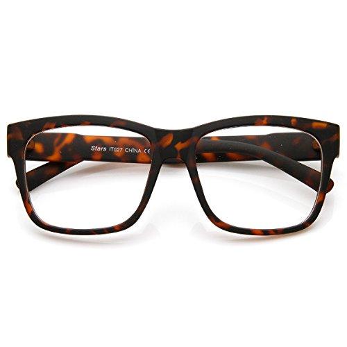 zeroUV - Casual Bold Thick Square Frame Clear Lens Horn Rimmed Glasses (Matte - Tortoise Frame Glasses
