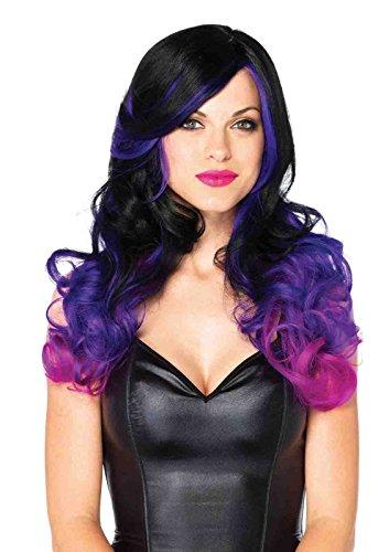 Adjustable Allure Multi Color Long Wavy Wig Bundle with Rave Shorts (Allure Multi Color Long Wavy Wig)
