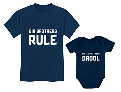 Big Brothers Rule Little Brothers Drool Boys Set Siblings Gift Shirt & Bodysuit Big Bro Navy 2T / Lil Bro Navy 6M (3-6M)