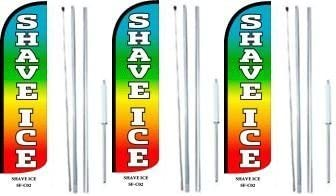 Shave Ice King Windless Swooper Feather Flag Sign Kit with Complete Hybrid Pole Set Pack of 3