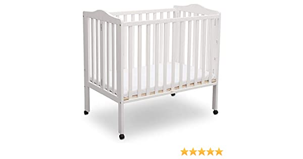 Amazon.com : Delta Children Delta Children Folding Portable Mini Baby Crib with Mattress, Bianca White, Bianca White : Baby