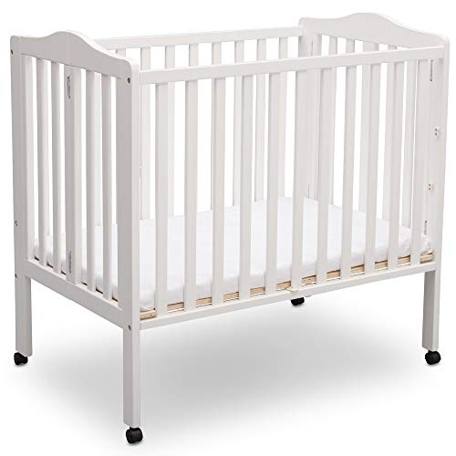 Delta Children Folding Portable Mini Baby Crib with Mattress, White
