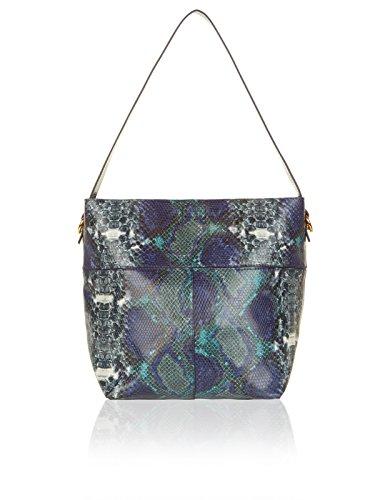 Accessorize Womens Tori Snake Bucket Shoulder Bag Size One Size Blue