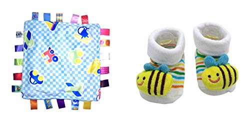 New Cute Baby Spring Honey Bee & Little Taggie Vehicle Blanket Theme 2-Pack 3-12 Months w/Gift Box ()