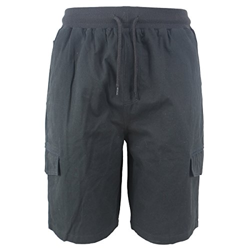 Evrimas Mens Cargo Shorts Elastic Waist Drawstring Cotton Loose Fit Casual Lightweight Outdoor Multi Pocket Twill Pants