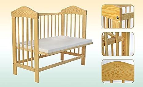 Kidsmax Kombi Beistellbett Kinderbett incl Matratze und Nestchen in 2 Gr/ö/ßen 90x55cm mit B/ärchenmotiv klat lackiert