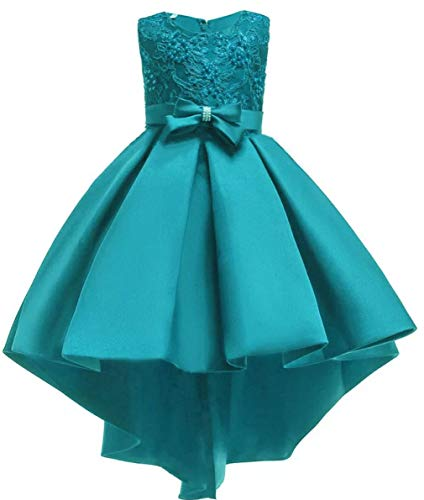 (Shiny Toddler Big Girls Pleated Beaded High-Low Applique Embroidered Flower Girl Pageant Dance Party Dress,Teal,7-8)