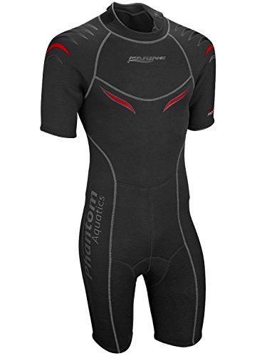 Phantom Aquatics Men's Marine Shorty Wetsuit, Black/Red, X-Large