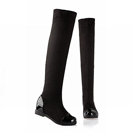 Femminile Boots Flat Nero Heel Hidden Concise Fascino Shoes Slim Carol Long zwqEfFw