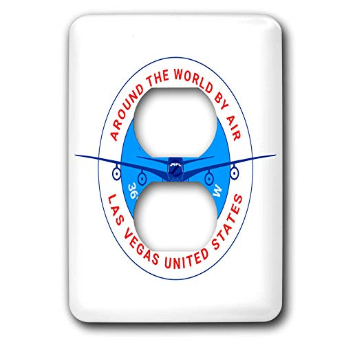 (3dRose Alexis Design - Around The World By Air - Round badge, a blue airliner. Red text Las Vegas United States - Light Switch Covers - 2 plug outlet cover (lsp_304581_6))