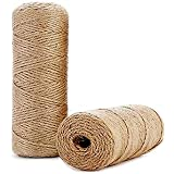 328 Ft Natural Jute Twine String Thin Ribbon Hemp Twine for Craft Plant Gift Wrapping Christmas Handmade Arts Decoration Pack