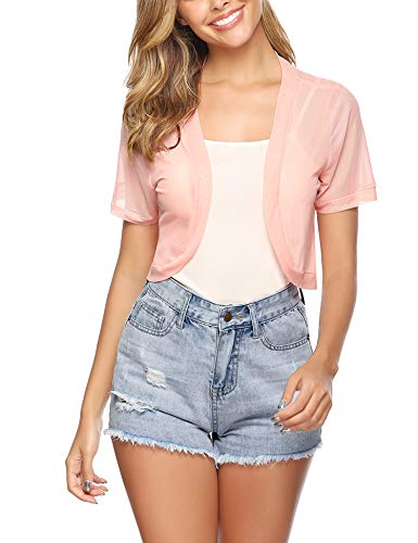 (Aiboria Women Short Sleeve Sheer Chiffon Shrug Open Front Bolero Cardigan Pink)