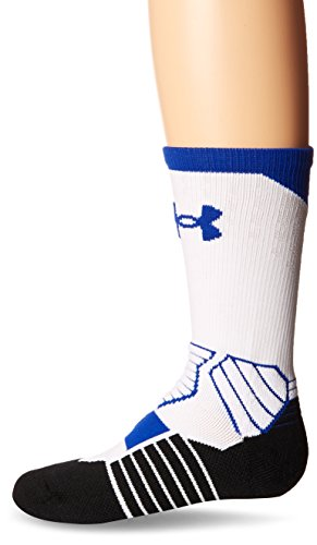 Under Armour Basketball Curry Crew Socks, White/Royal, Size 7-9/Large