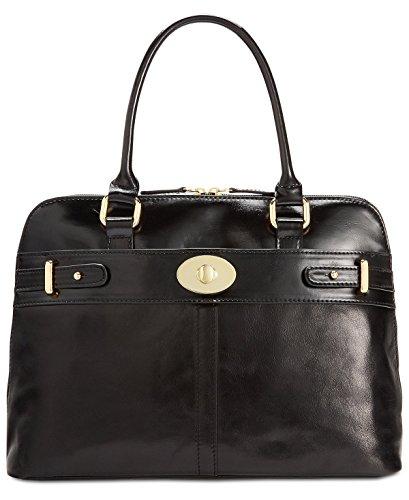 Giani Bernini Womens Turnlock Leather Dome Shoulder Handbag Black Large Bernini Womens Handbag