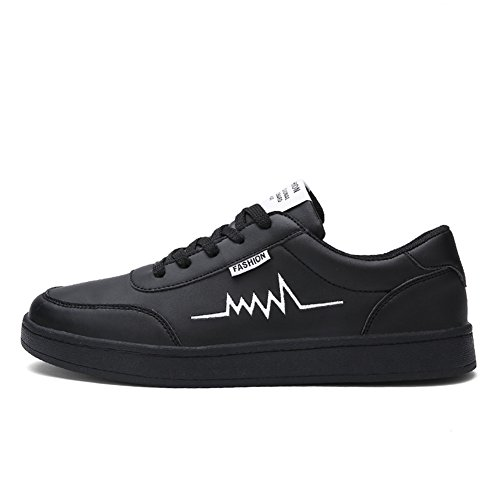 Führershow Herrenmode Breathable Skate Schuh Casual Sport Lace Up Sneaker Schwarz