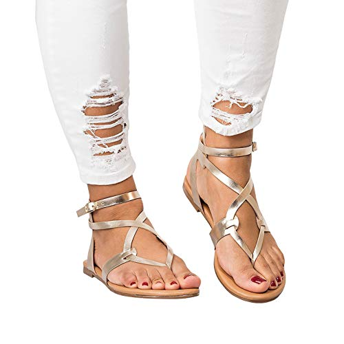 Womens Flat Strappy Gladiators Sandals Thong Criss Cross Wrap Ankle Strap Open Toe Beach Sandals ()