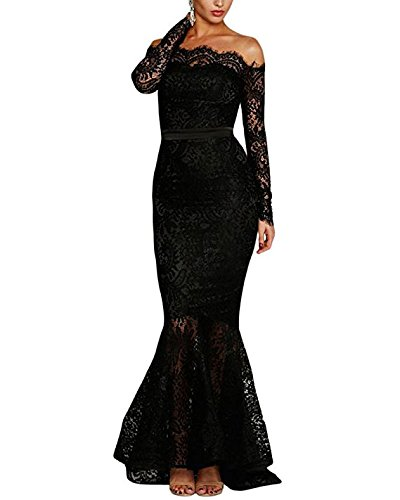 (Lalagen Women's Floral Lace Long Sleeve Off Shoulder Wedding Mermaid Dress Black XXL)