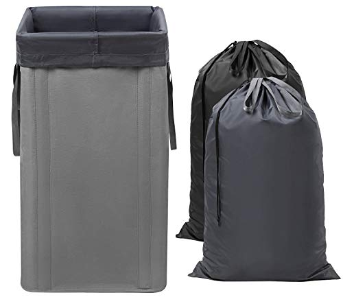 WOWLIVE Large Laundry Hamper Collapsible with 2 Removable Laundry Bags Tall Laundry Basket Foldable Dirty Clothes Hamper with 2 Handles Rectangular Washing Bin Dorm Room Storage for College(Grey) (Collapsible Hampers)