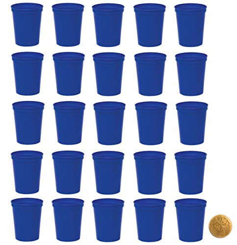 Royal Blue Plastic Party Cups, Pack of 25, Blank 16 oz Stadium Cups