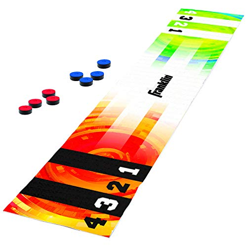 Franklin Sports Shuffleboard Table Game - Indoor or Outdoor Shuffleboard Mat for Kids and Adults - Includes 8 Pucks - 6 Foot Mat That Pucks Easily Slide On - Rolls Up for Storage from Franklin Sports