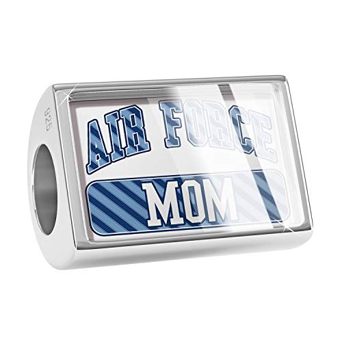 NEONBLOND Charm Air Force Mom, Blue Stripes 925 Sterling Silver Bead