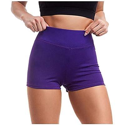 POPNINGKS Women Breathable Yoga Pants,High Waist Workout Leggings Hips Sports Yoga Shorts Running Pants Active Shorts 1 Pack: Clothing
