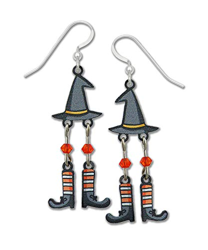 Sienna Sky Halloween Witch Hat and Dangling Feet Earrings Hand Painted Handmade with Gift ()