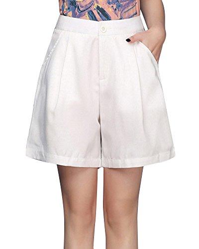 A Donna Casuale Pantaloncini Larghi Alta Vita Bianco Shorts Eleganti Corti pSnZxqSd