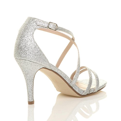 Silver Heel High Size Sandals Ajvani Shoes Women Glitter qTwFTxvY