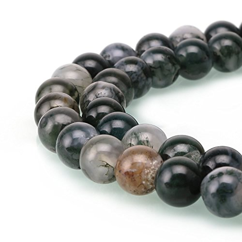 AAA Natural Moss Agate Gemstone 8mm Loose Round Beads Spacer Beads 15.5