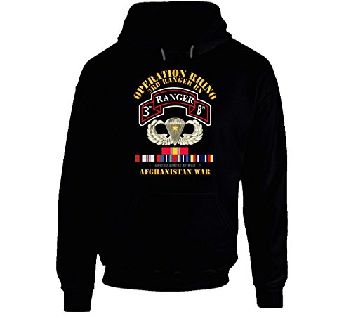LARGE - Sof - Operation Rhino - Afghanistan - 3rd Ranger Bn W Svc Hoodie - Black - Patch Military Dui