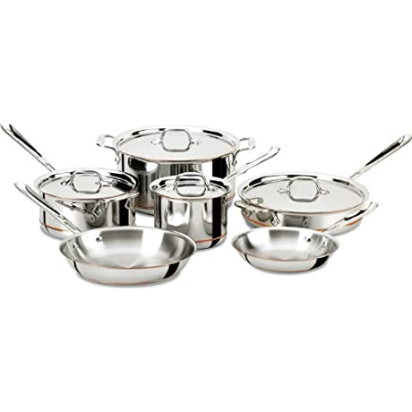 All Clad 600822 SS Copper Core 5 Ply Bonded Dishwasher Safe Cookware Set 10 Piece Silver
