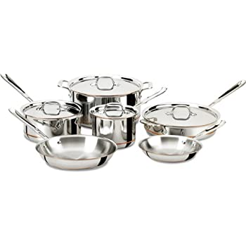 Image of All-Clad 600822 SS Copper Core 5-Ply Bonded Dishwasher Safe Cookware Set, 10-Piece, Silver Home and Kitchen