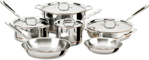 All Clad Stainless Steel Cookware Set - All-Clad 600822 SS Copper Core 5-Ply Bonded Dishwasher Safe Cookware Set, 10-Piece, Silver