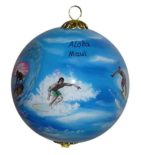 Maui By Design Hawaiian Surfing Ornament Collectible Hand Painted Glass with Gift Box - Painted Decor Hand Surf